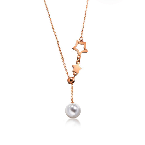 Fashion Adjustable Rose Gold Star Charm With Natural Pearl Necklace