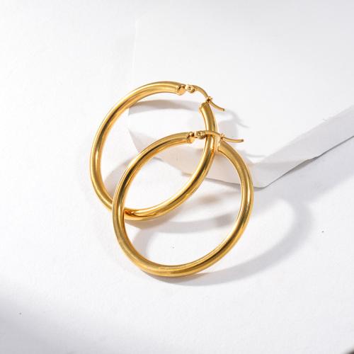 مجوهرات مطلية بالذهب أقراط من الفولاذ المقاوم للصدأ 48 ملم