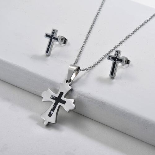 Conjuntos de joyas de pendientes de collar de cruz de plata de acero inoxidable de moda
