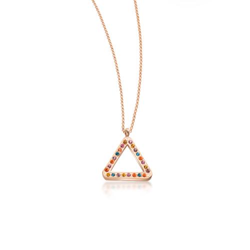 Collar de oro rosa con diamantes de colores de estilo de moda