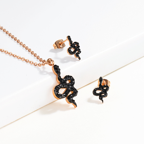 Stainless Steel Snake Jewelry Sets-SSCSG143-13002-R