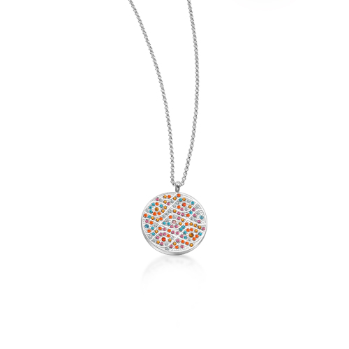 Collar de plata estilo diamante de arcilla simple redondo de moda