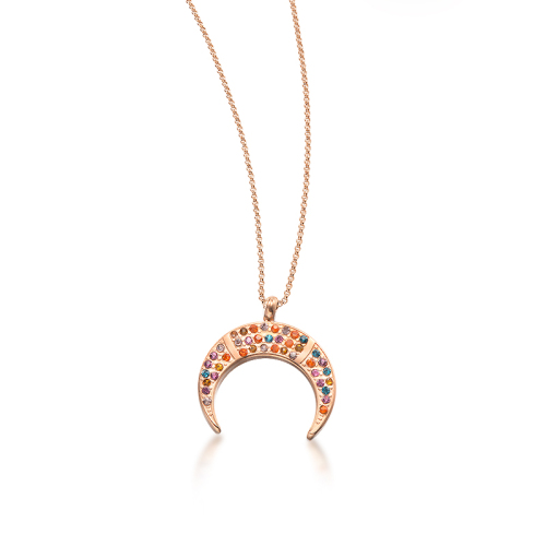 Collar de oro rosa de estilo de diamante de color barro de luna de moda