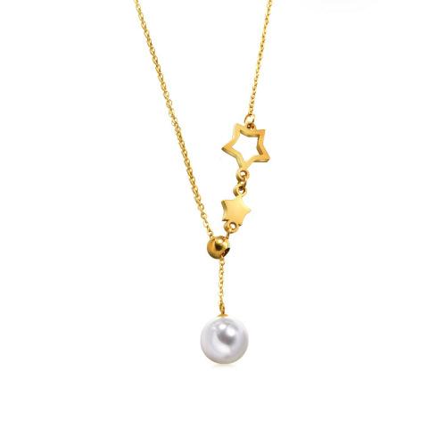Collar de perlas de oro estilo moda