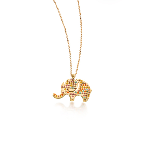 Collar de oro estilo elefante de arcilla con forma de diamante