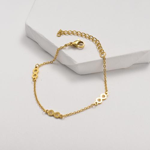 Bracelet en acier inoxydable doré avec pendentif figure 8