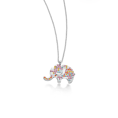Collar de plata estilo elefante de barro de moda