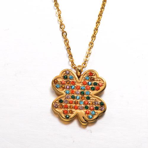 Collar de oro y diamantes de colores de estilo moderno