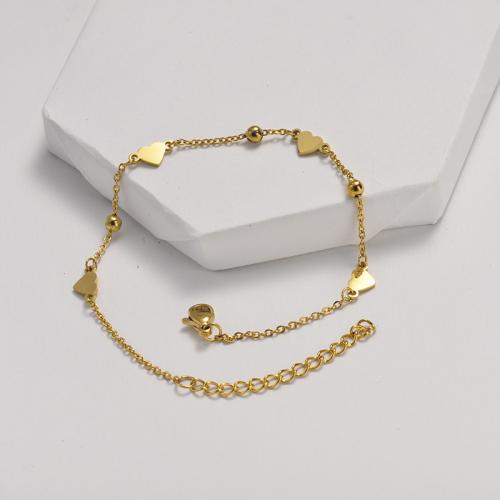 Bracelet en acier inoxydable doré de style clause de chaîne à billes en acier avec pendentif cœur