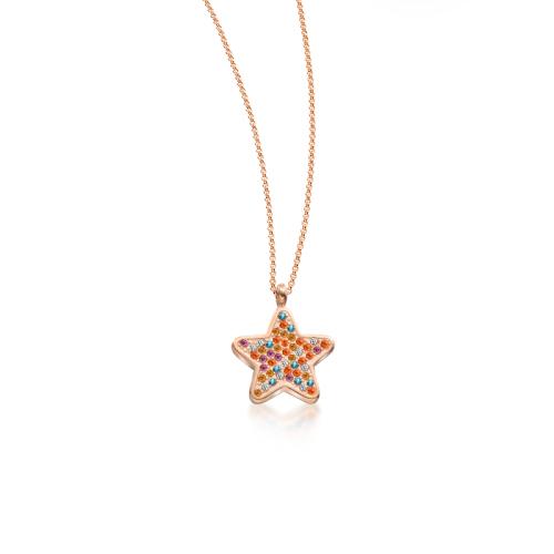 Collar de oro rosa de diamantes de lujo con estrella de cinco puntas estilo moda