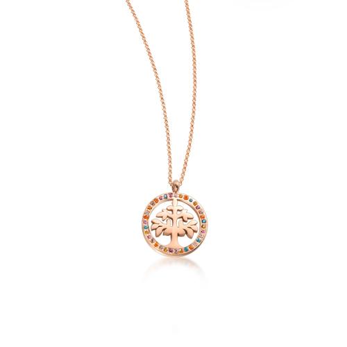 Collar de oro rosa con diamantes de color estilo de moda de árbol de la vida