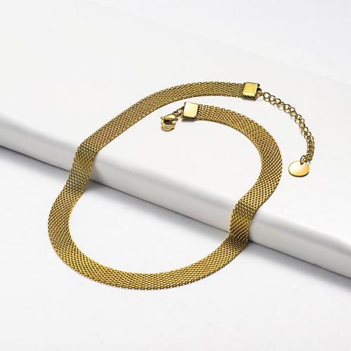 Collar ancho de oro estilo moda