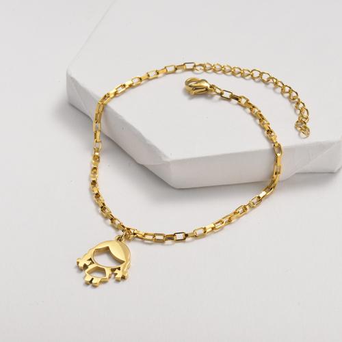 Bracelet en acier inoxydable doré à chaîne avec pendentif petite fille