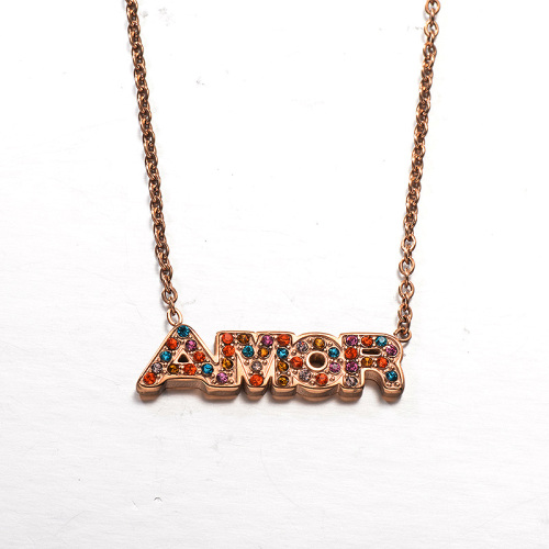 Fashion Month Letter Color Diamond Style Rose Gold Necklace