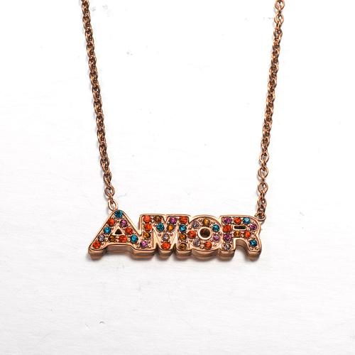 Collar de oro rosa estilo diamante de color de letra del mes de la moda