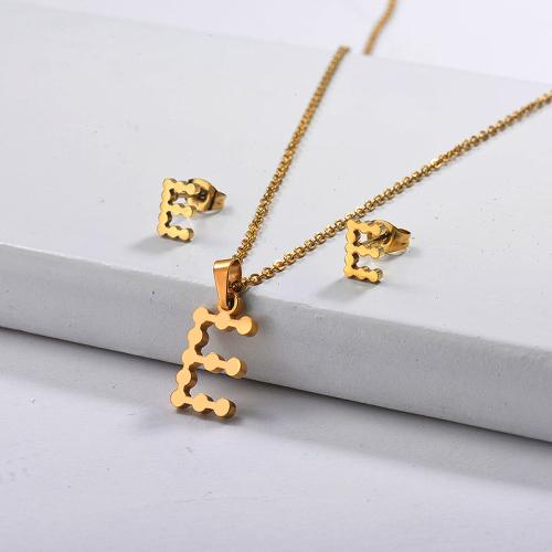 Conjuntos de joyas de collar de letra inicial chapados en oro