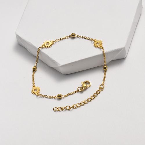 Bracelet en acier inoxydable de style clause de chaîne à billes en acier avec pendentif soleil