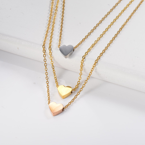 Colorful heart-shaped three-layer gold necklace