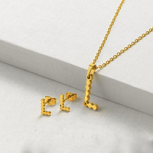 Gold Plated Initial Letter Necklace Jewelry Sets