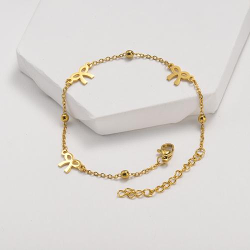 Bracelet en acier inoxydable de style clause à chaîne boule en acier avec pendentif nœud