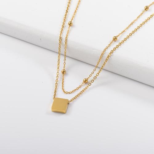 Collar de capas de oro cuadrado pequeño de moda