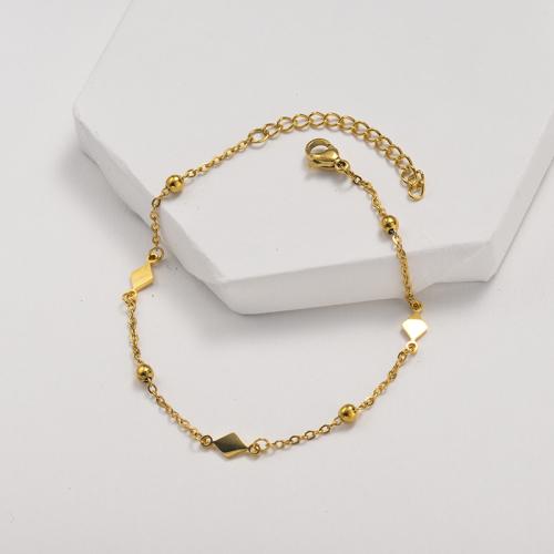 Bracelet en acier inoxydable de style clause de chaîne à billes en acier avec pendentif en diamant