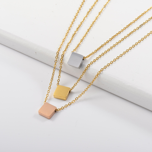 ثلاثة ألوان مربع قلادة من الذهب ثلاث طبقات