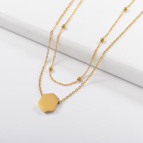 Collar de capas de oro angular de moda