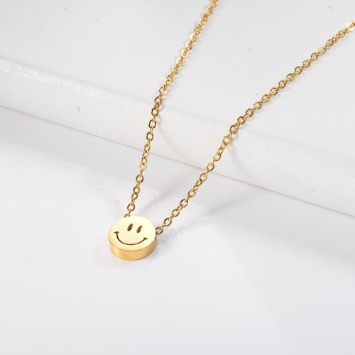 Small round face gold necklace