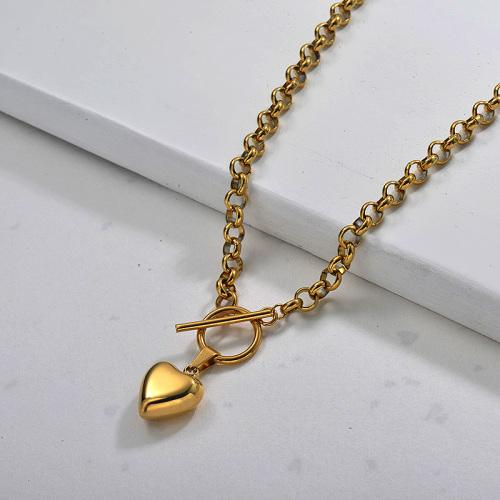 Collier coeur plaqué or tendance