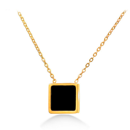 Black square gold necklace