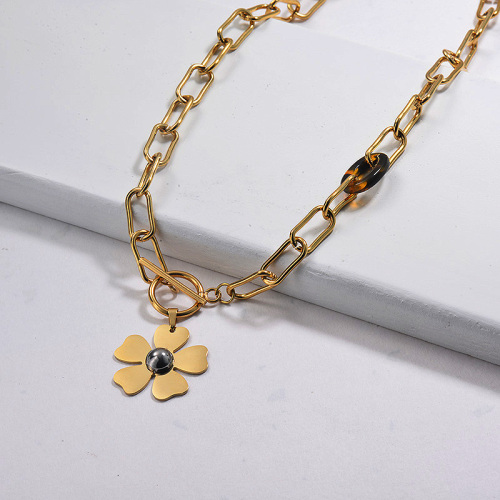 Gold Plated Statement Flower Necklace
