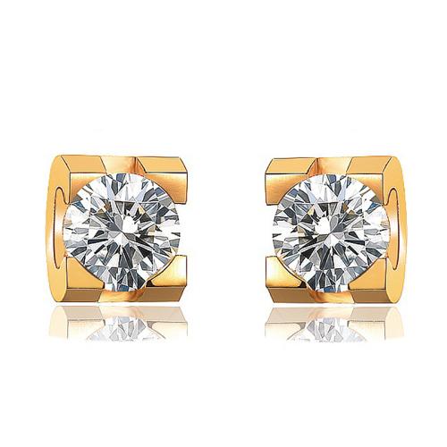 Bijoux plaqués or Siemple Design Boucles d'oreilles en diamant en acier inoxydable