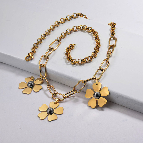 Gold Plated Flower Statement Necklace