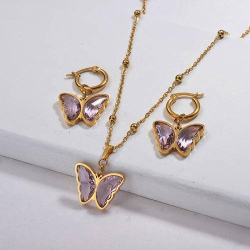 Conjuntos de collar de mariposa de acero inoxidable al por mayor con conjuntos de joyería Earirng