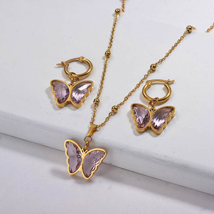 Wholesale Stainless Steel Butterfly Necklace Sets with Earirng Jewelry Sets