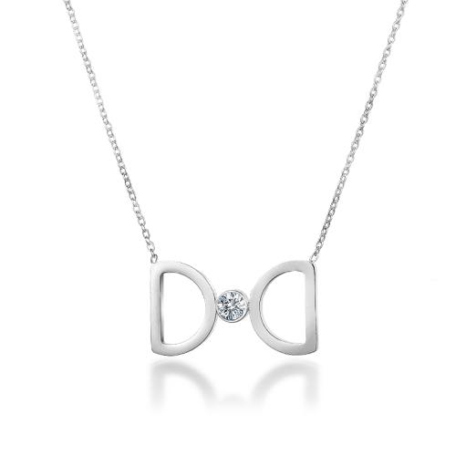 Collar de plata con diamantes de estilo de moda
