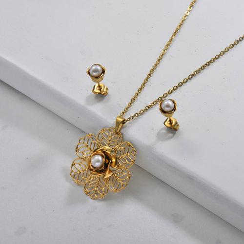 Conjuntos de joyas de perlas de flores de acero inoxidable para mujeres