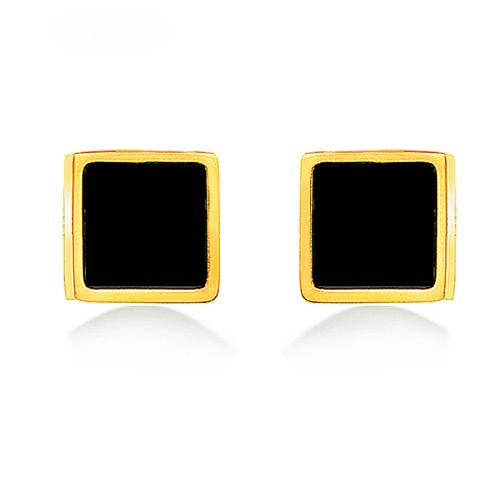 Pendientes de botón cuadrados de estilo simple de joyería de acero inoxidable plateado