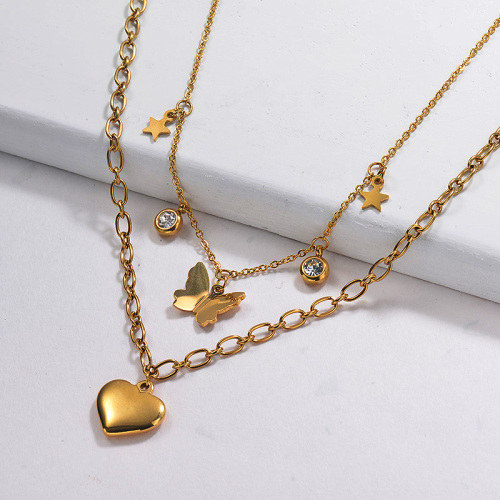 Butterfly Heart Double Layer Necklace in Gold Plated