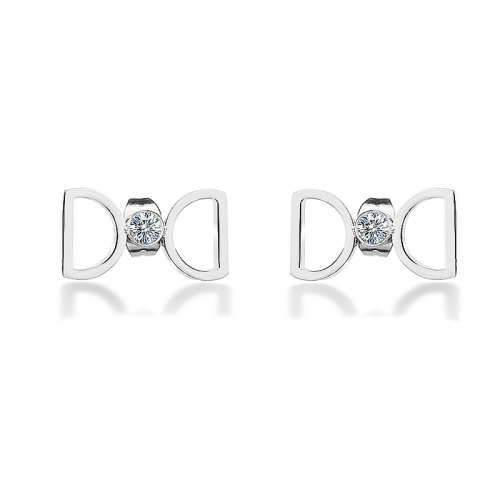 Boucles d'oreilles en acier inoxydable à motif de marque argenté