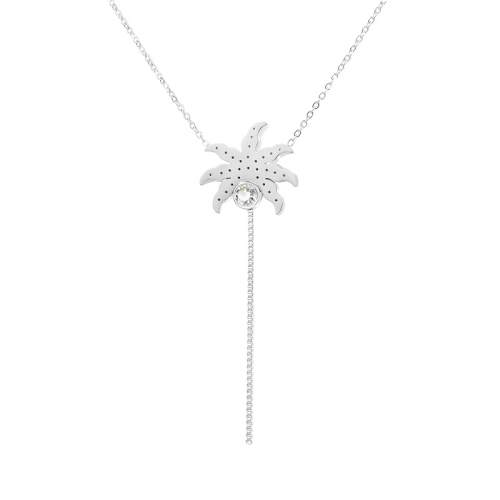 Collar de plata de diamantes estilo playa de moda