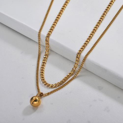 Collier double couche plaqué or pour femme