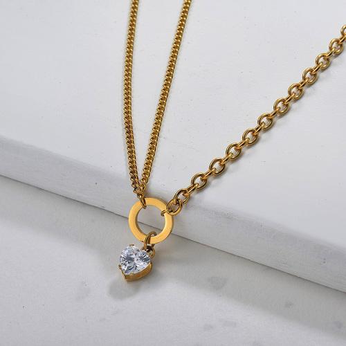Collier coeur en acier inoxydable zircon cubique pour femme