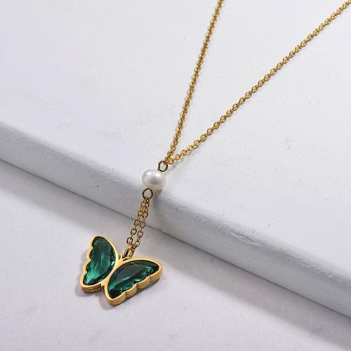 Collar de perlas de mariposa de cristal de acero inoxidable al por mayor