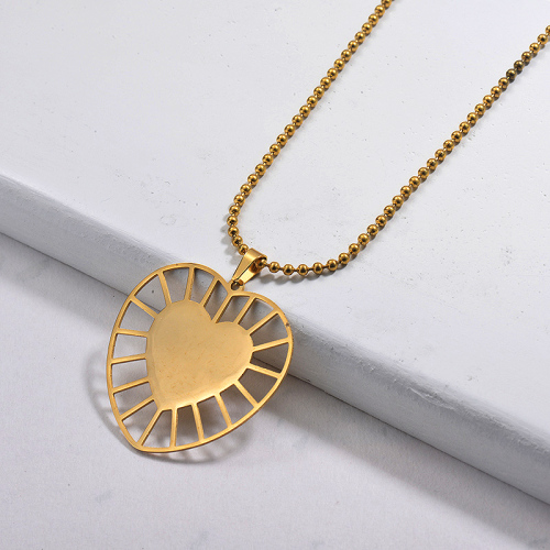Wholesale Stainless Steel Statement Heart Pendant Necklace