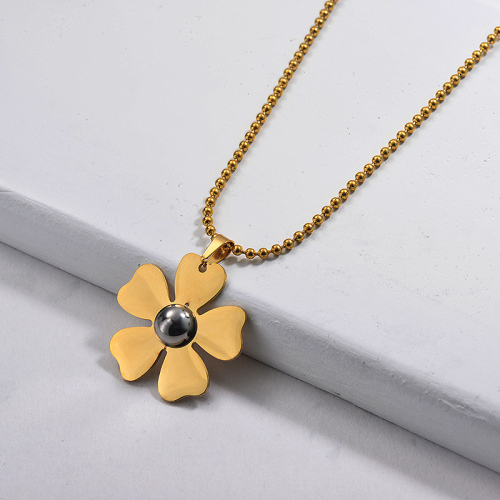 Wholesale Stainless Steel Statement Flower Pendant Necklace