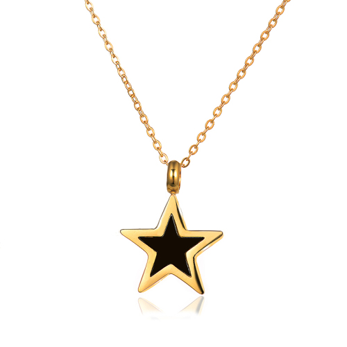 Black five-pointed star gold necklace