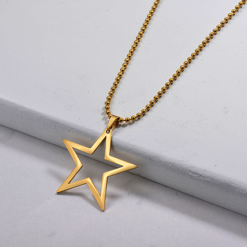 Wholesale Stainless Steel Statement Star Pendant Necklace