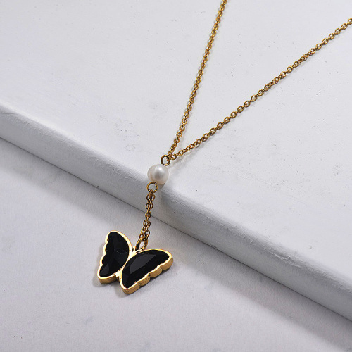Wholesale Stainless Steel Crystal Butterfly Pearl Necklace